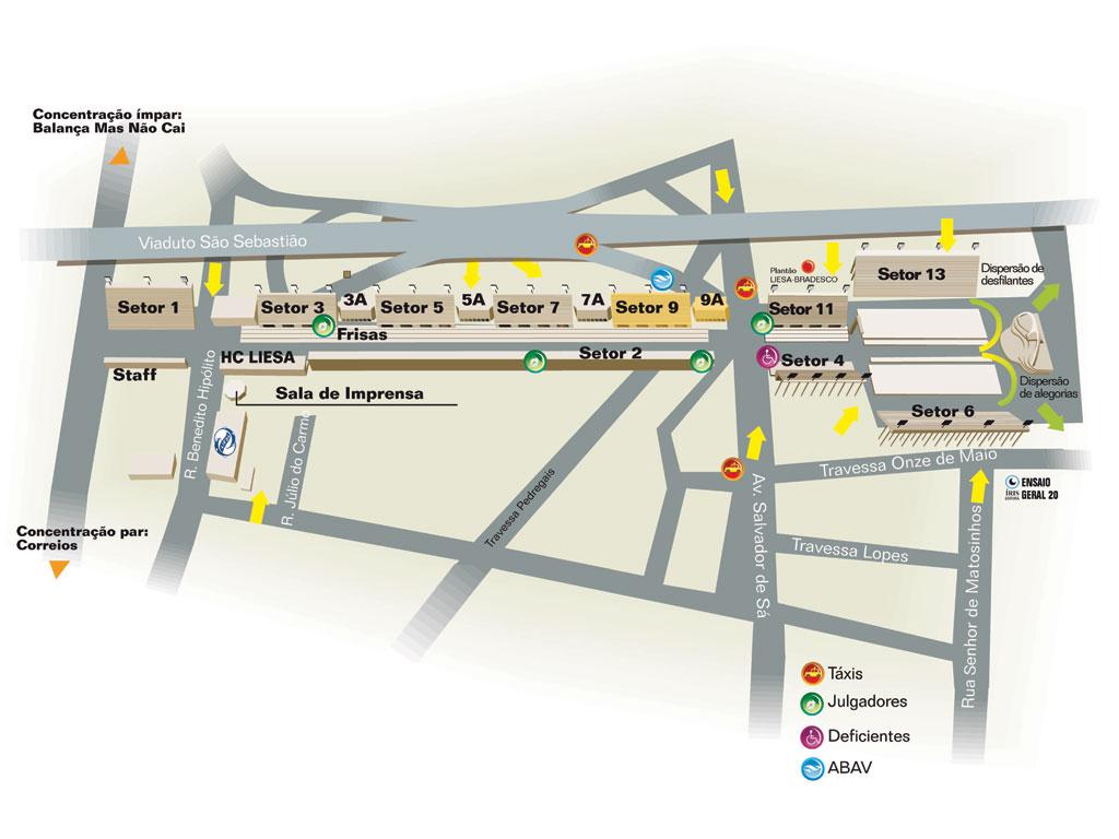 Mapa do sambódromo do Rio de Janeiro
