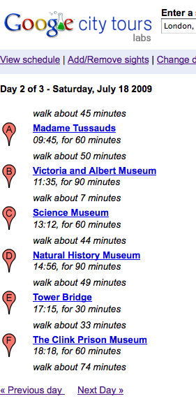 Google City Tours