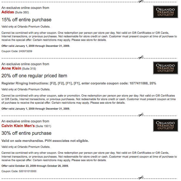 cupons da Premium Outlet de Orlando