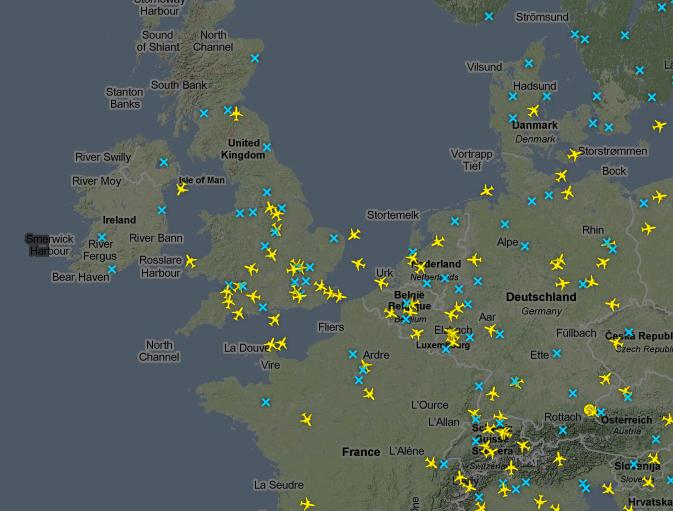 Voos para Europa no site Flight Radar 24
